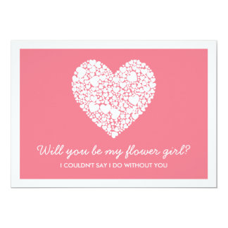 Will You Be My Flower Girl? Pink Heart Card 13 Cm X 18 Cm Invitation Card