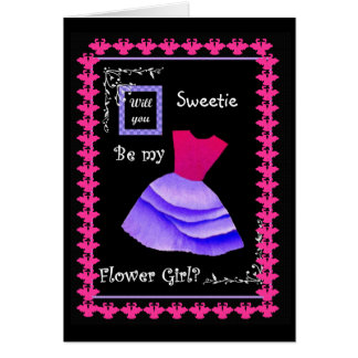 Will You Be My Flower Girl? PINK & PURPLE Dress Greeting Card