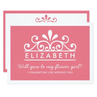 Will You Be My Flower Girl? Pink Tiara Card