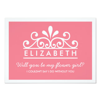 Will You Be My Flower Girl? Pink Tiara Card 13 Cm X 18 Cm Invitation Card