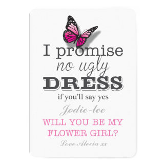Will You Be My Flower Girl Pretty Butterfly Card
