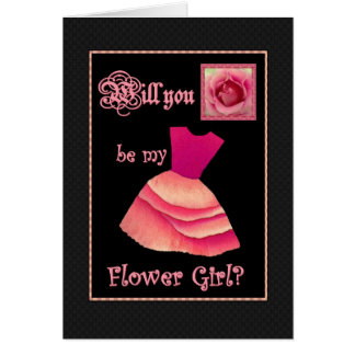 Will You Be My Flower Girl? Red Dress Greeting Card