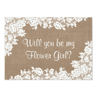Will You Be My Flower Girl? Rustic Burlap & Lace 13 Cm X 18 Cm Invitation Card
