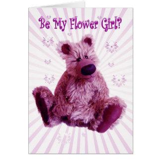 Will you be my Flower Girl, teddy bear wedding Greeting Card