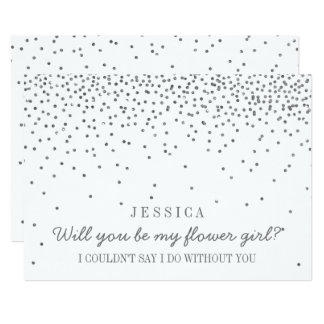 Will You Be My Flower Girl Vintage Silver Confetti Card