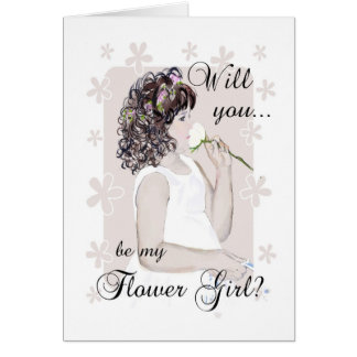 Will you be my Flower Girl?-Young Girl Drawing Greeting Card