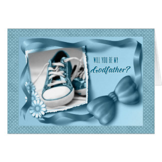 Will You Be My Godfather - Baby Boy Blue Greeting Card