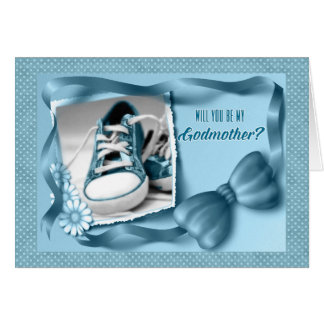 Will You Be My Godmother - Baby Boy Blue Greeting Card