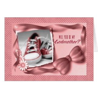 Will You Be My Godmother - Baby Girl Pink Greeting Card