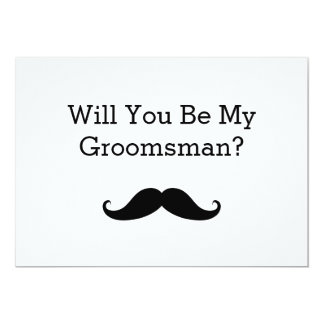 Will You Be My Groomsman Black Mustache Card