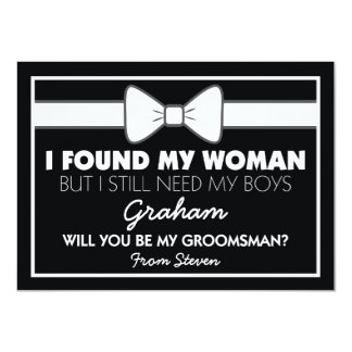 Will You Be My Groomsman Black/White Bow Tie 11 Cm X 16 Cm Invitation Card