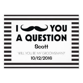 Will You Be My Groomsman Moustache Black Stripes Card