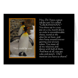 Will You Be My Groomsman? Penguin Humor Card