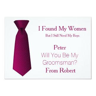 Will You Be My Groomsman Purple & White Tie 13 Cm X 18 Cm Invitation Card