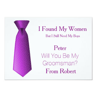 Will You Be My Groomsman Purple & White Tie 13 Cm X 18 Cm Invitation Card