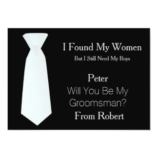 Will You Be My Groomsman white & Black Tie 13 Cm X 18 Cm Invitation Card