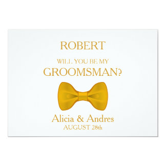Will you be my Groomsman? with Gold Bow 13 Cm X 18 Cm Invitation Card