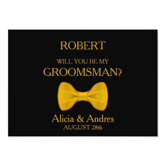 Will you be my Groomsman? with Gold Bow Card