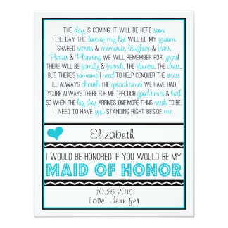"Will you be my Maid of Honor? Blue/Black Poem V2 4.25"" X 5.5"" Invitation Card"
