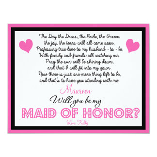 Will you be my Maid of Honor? Card 11 Cm X 14 Cm Invitation Card