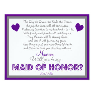 """Will you be my Maid of Honor? Card 4.25"""" X 5.5"""" Invitation Card"""
