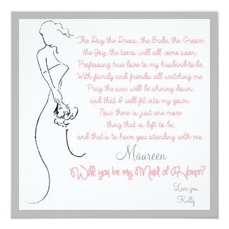 Will you be my Maid of Honor? Card 13 Cm X 13 Cm Square Invitation Card