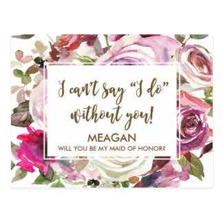 Will you be my maid of honor card personalized postcard