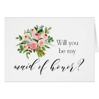 Will you be my maid of honor card - pink floral
