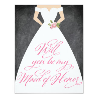 Will You Be My Maid of Honor Chalkboard Dress Card