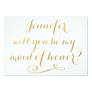 Will You Be My Maid of Honor Gold Calligraphy Card