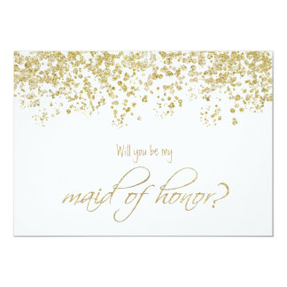Will you be my maid of honor? Gold Confetti 13 Cm X 18 Cm Invitation Card