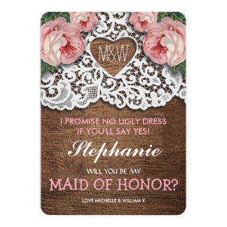 Will you be my Maid of Honor? | Lace Bridesmaid Card