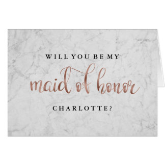 Will You Be My Maid Of Honor Marble Rose Gold Card