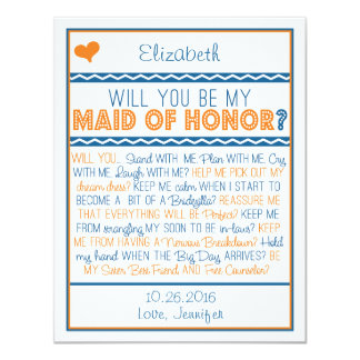 Will you be my Maid of Honor? Navy/Orange Poem Card