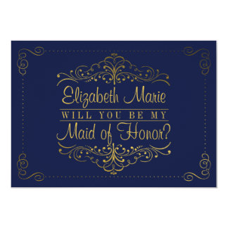 Will You Be My Maid Of Honor? Ornate Navy & Gold 13 Cm X 18 Cm Invitation Card