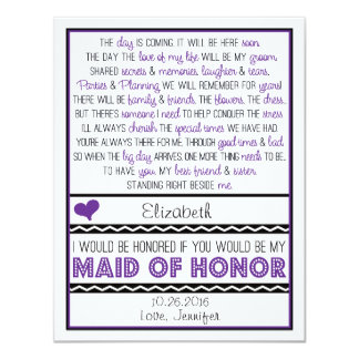 Will you be my Maid of Honor? Purple/Black Poem 11 Cm X 14 Cm Invitation Card