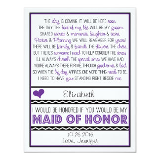 Will you be my Maid of Honor? Purple/Black Poem V2 11 Cm X 14 Cm Invitation Card