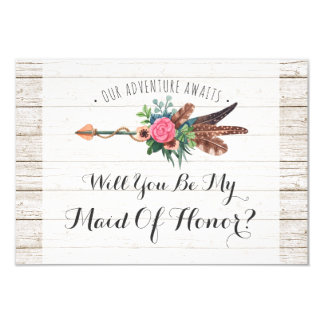 Will You Be My Maid Of Honor? Rustic Boho Wedding Card