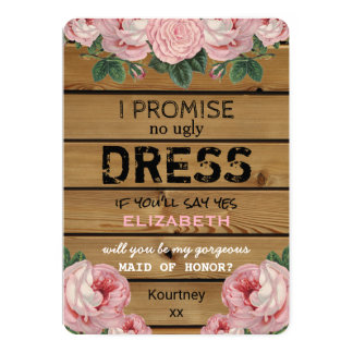 Will you be my Maid of Honor | Rustic Bridesmaid Card
