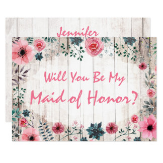 Will You Be My Maid Of Honor Rustic Floral Wedding Card