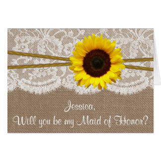 Will You Be My Maid of Honor? Rustic Sunflower Card