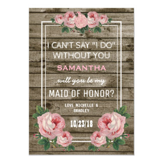 Will you be my Maid of Honor | Rustic Vintage Card