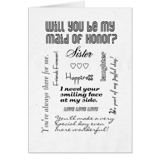Will You Be My Maid of Honor, Sister? Card