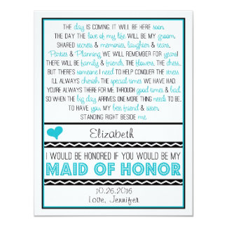 Will you be my Maid of Honor? Turquoise/Black Poem Card