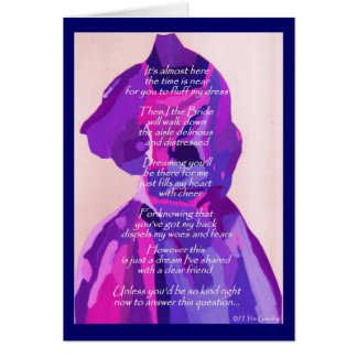 """""""Will You Be My Maid Of Honor"""" Winter Blue Card Greeting Cards"""