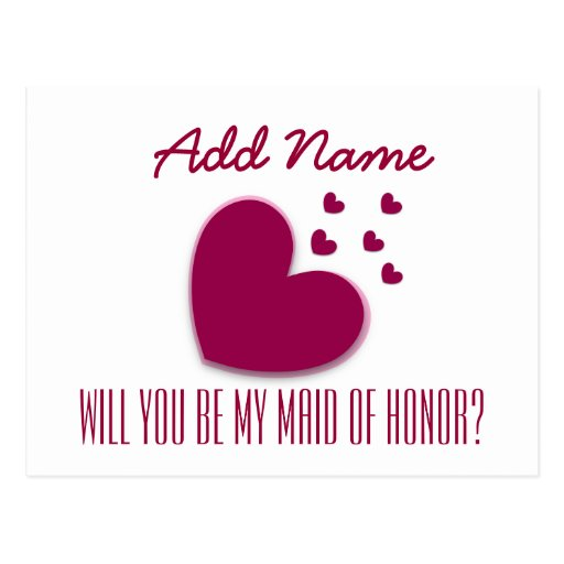 Will You Be My Maid of Honor with Hearts V02 Postcards