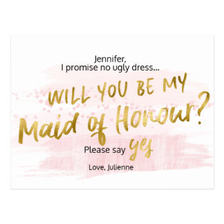 Will you be my Maid of Honour Blush Watercolor Postcard