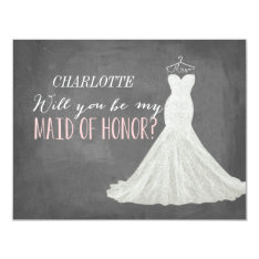 Will You Be My Maid of Honour   Bridesmaid 11 Cm X 14 Cm Invitation Card at Zazzle