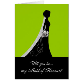 Will You Be My Maid of Honour? Cards Apple Green