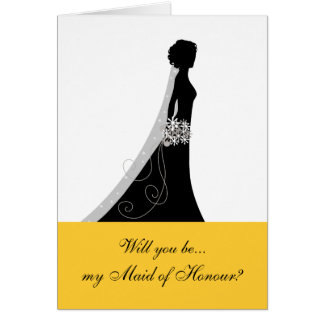 Will You Be My Maid of Honour? Cards Black Yellow